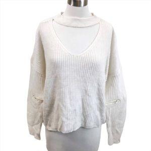 No Comment NY LA Cream Ribbed Choker Sweater NWT M